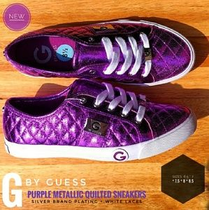 (NEW) GUESS Purple Metallic Sneakers (size 7-8.5)
